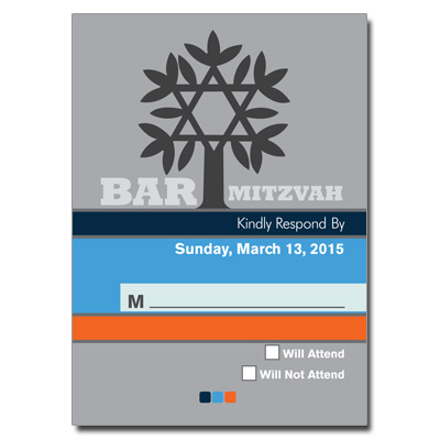 Contempo Stripes Blue Bar Mitzvah Response Card