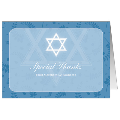 Round Blue Frame Bar Mitzvah Thank You Card