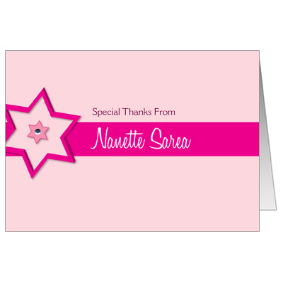 Fuchsia Star Bat Mitzvah Thank You Card
