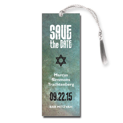 Granite Grunge Save the Date Bar Mitzvah Bookmark