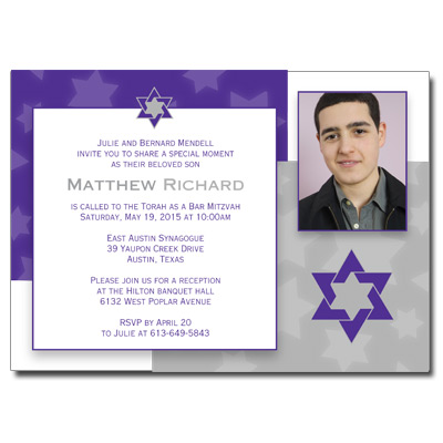 Indigo Star Bar Mitzvah Invitation