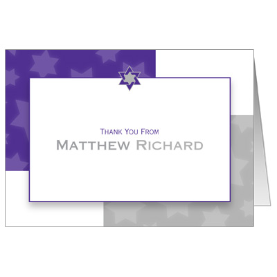 Indigo Star Bar Mitzvah Thank You Card