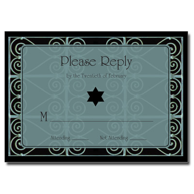 Wrought Iron Bar Mitzvah Response Card