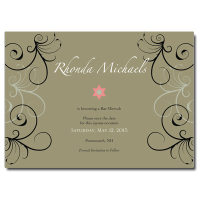 Khaki Floral Save the Date Bar Mitzvah Card With Magnet