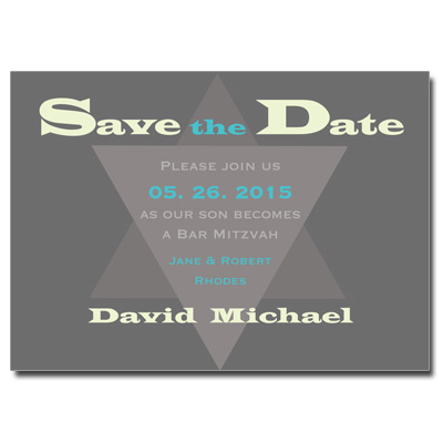 Modern Gray Save the Date Bar Mitzvah Card With Magnet