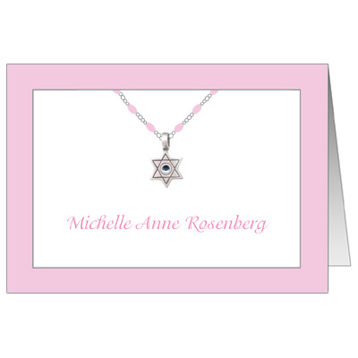 Jeweled Star Necklace Bat Mitzvah Thank You Card