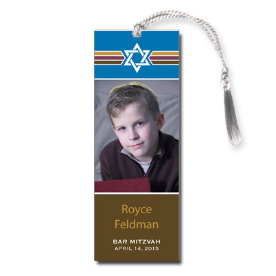 Photo Stripes Bar Mitzvah Bookmark