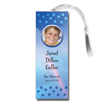 Rainbow Blue Bar Mitzvah Bookmark