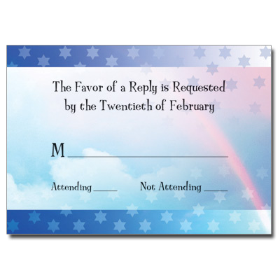 Rainbow Blue Bar Mitzvah Response Card