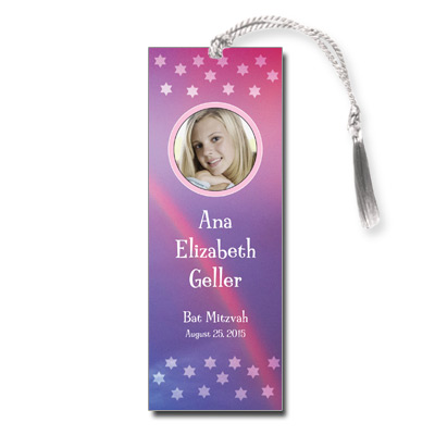 Rainbow Purple Bat Mitzvah Bookmark
