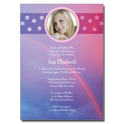 Rainbow Purple Bat Mitzvah Invitation