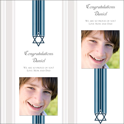 Star and Stripes Blue Bar Mitzvah Gift Wrap