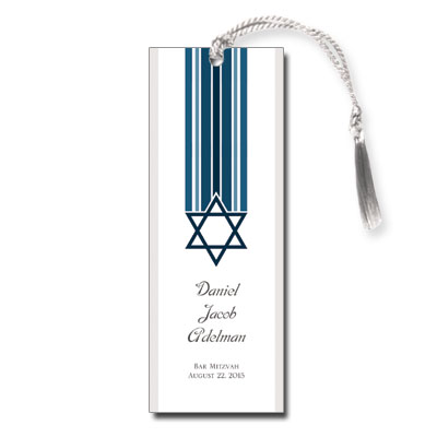 Star and Stripes Blue Bar Mitzvah Bookmark