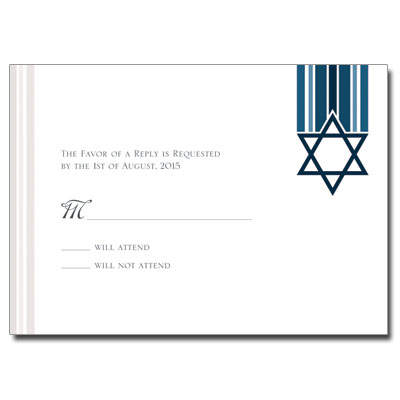 Star and Stripes Blue Bar Mitzvah Response Card