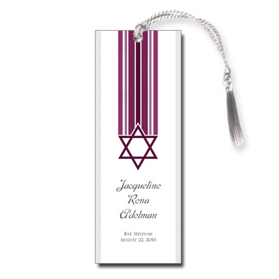 Star and Stripes Magenta Bat Mitzvah Bookmark