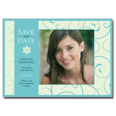 Teal Floral Save the Date Bat Mitzvah Card With Magnet